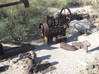 Old Tumco mining equipment is displayed at Gold Rock Ranch.