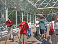 Josh, the tour guide, leads a group through Biosphere 2.