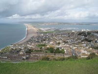 Chesil Beach links Portland with Weymouth, the sailing competition site.