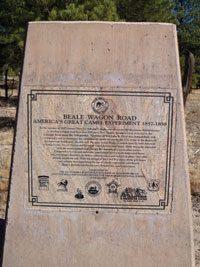 A sign marks the road that was built across Arizona with the help of camels.