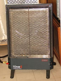 A catalytic heater is flameless and uses no electricity.