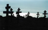Russian crosses mark graves on a bluff above Fort Ross.