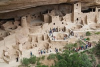 The Cliff Palace is the largest dwelling at Mesa Verde.