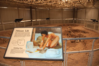 A pithouse exhibit describes the life of Ancestral Puebloans in about 600 A.D.