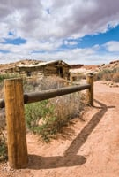 Arches National Park includes the Wolfe Ranch cabin built about 1898.