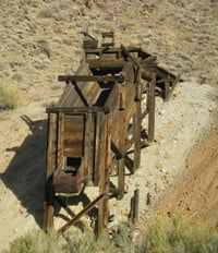 An ore chute is among the relics at the Ruth Mine.