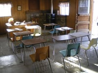 A schoolhouse served miners' children.