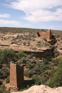 Square tower and Hovenweep house.
