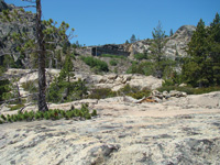 A train tunnel is seen looking up from a cliff east of Donner Pass.