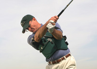 The Swing Jacket helps golfers develop a consistent swing.