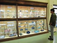 Minerals are displayed at the Montana Tech Mineral Museum.