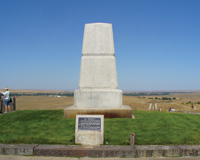 Names of fallen soldiers are inscribed on a monument at Last Stand Hill.