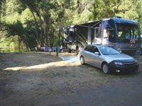 Nicely shaded campsites can be found at RV resorts near Yosemite.