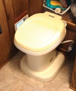 Riser raises the toilet by 2.5 inches.
