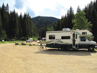 RVs park at the East Portal of the Route of the Hiawatha.