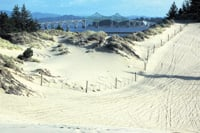 The McCullough Bridge at Coos Bay is visible from the sand dunes.