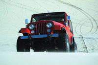 Extra-wide tires are a feature of Jeeps touring the dunes.