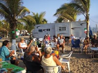 RVers gather at a campground in Mexico.