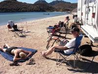 RVers camp on the beach at Playa Santispac.