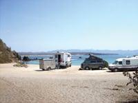 RVers park along the beach at Tenacatita in Jalisco.