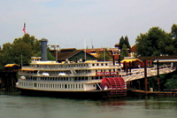 The Delta King Hotel is on the water at Old Sacramento.