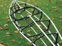 The Folboat Cooper kayak has a metal frame that snaps together. Inflatable air chambers along the sides provide stability.