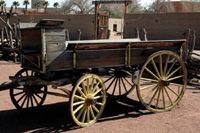 An 1850s freight wagon can be found at the Mormon Fort.