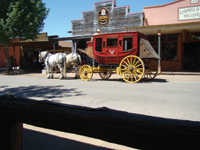You can see Tombstone sights from a stagecoach.