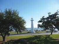 The Biloxi Lighthouse serves as a landmark for tourists.