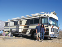 Dennis and Jeanette Vieira travel the country in a 1978 Bluebird Wanderlodge.