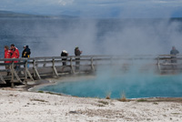 Steam rises from Black Pool along the Yellowstone Lake shore.
