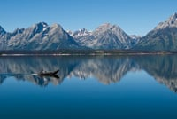 The Teton Range rises above Jackson Lake.