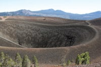 A view from the top looks into the dormant Cinder Cone volcano.