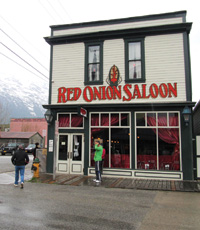 The Red Onion Saloon, built in 1898, was moved to a new location in 1914.