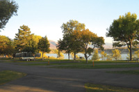 RVers camp with a lake view at Hyrum State Park.