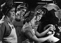 Women undergo training in the 1940s at a defense plant.