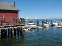 Boats tie up at the wharf in Coupeville.