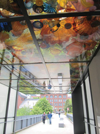 The Chihuly Bridge of Glass links the Museum of Glass to downtown Tacoma.