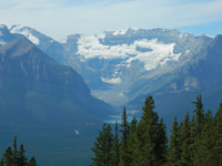 Water flows into Lake Louise from the glaciers above it.