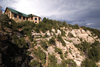 The Grand Canyon Lodge overlooks the Grand Canyon.