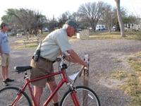 Camp host Dave England checks campsites at Big Bend National Park.