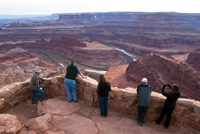 A scenic overlook provides dramatic views of the Colorado River.