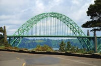 The Oregon coast is known for beautiful bridges like this one in Newport.