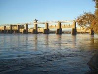 The Red Bluff Diversion Dam lies across the Sacramento River.