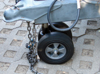 A dual-tire nose wheel can support the trailer tongue while the trailer is being moved.