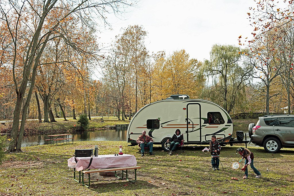 Fall Afternoon with Travel Trailer Web