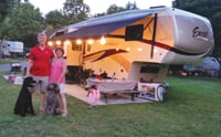 Judi Colgan and her husband, Brian, are on the road in a new fifth-wheel.