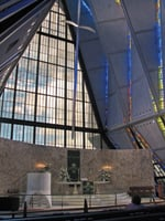 The Cadet Chapel is a landmark on the Air Force Academy campus.