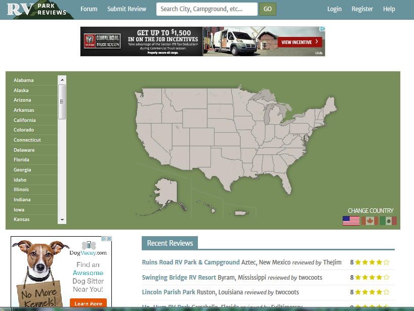 Campground Reviews United States