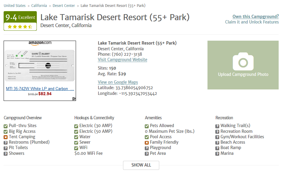 Campground Reviews Features